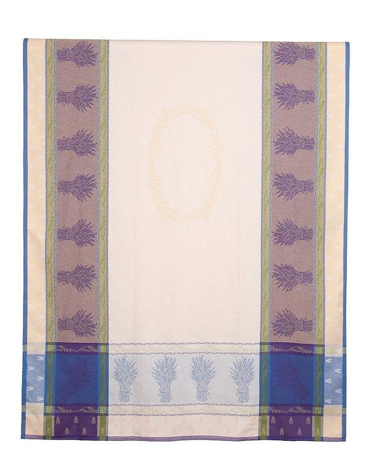 french linen jacquard tea towel with lavender design in mauve/ecru