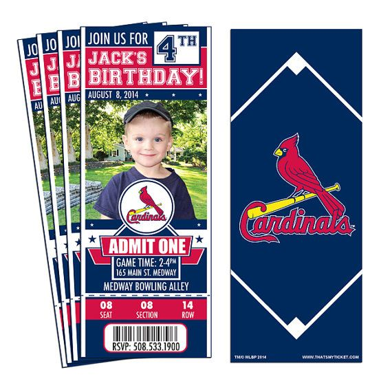 12 St. Louis Cardinals Birthday Party Ticket by ThatsMyTicket