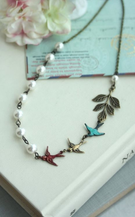 Flying Swallow Birds Necklace,Teal Blue, Red, Brass Sparrows, Leaf, White Pearls Necklace. Bridesmaid Gift. Garden Wedding By Marolsha. https://www.etsy.com/listing/206092268/flying-swallow-birds-necklaceteal-blue?ref=shop_home_active_1