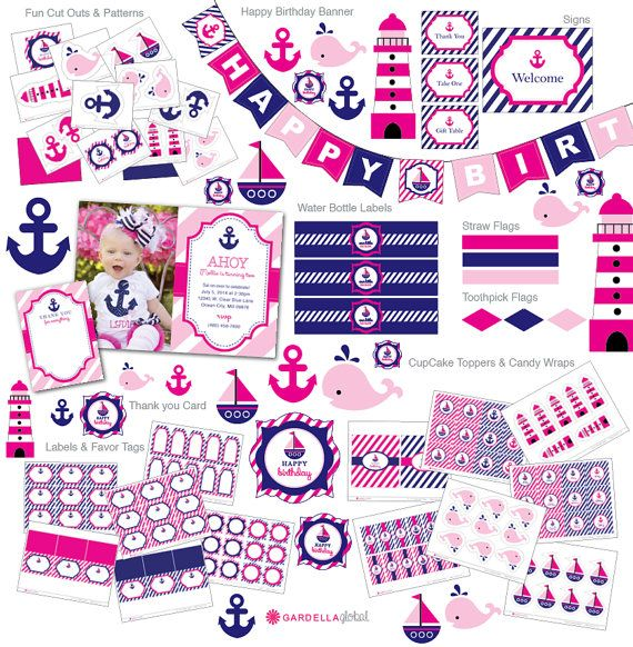 Nautical Birthday Party, Pink and Blue, Invitation, Thank you Card, Cupcake Toppers, Water Bottle Wraps, Centerpieces, Decoration, Birthday Banner, Labels, Favor Tags and so much more!