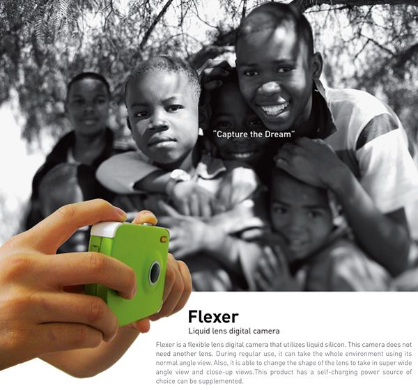 Flexer is a flexible lens digital camera that utilizes liquid silicon. Wide angle or normal - you don't have to change the lens.