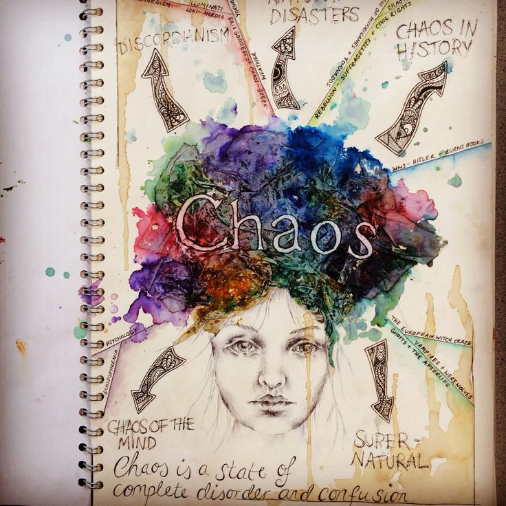 Sketchbook front cover for exam 'Chaos'
