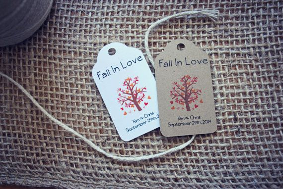 Cute Favour Tags for an Autumn Wedding!  Fall in Love!  SMALL Fall In Love with Heart Tree Tag Favour by thepaperstash, $7.75