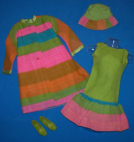 Vintage-Francie-Doll-1230-Merry-Go-Rounders-1969-Mod-Outfit-Near-Complete