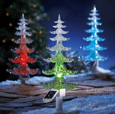 48 cm large solar powered christmas tree colour changing light garden ornament - Solar Powered Christmas Tree