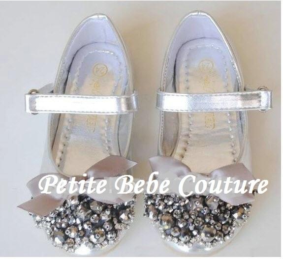PbC- Girls Princess Kate Shoes (Silver) <3  www.petitebebecouturepage.aradium.com