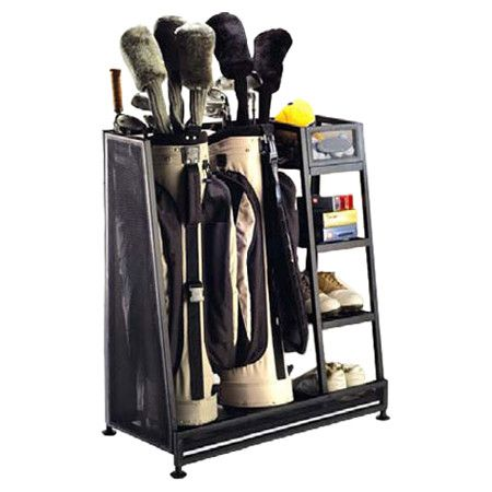 Keep all of your golf necessities organized and accounted for with this black metal rack. With storage for 2 golf bags and a side shelf for your tees, shoes,...