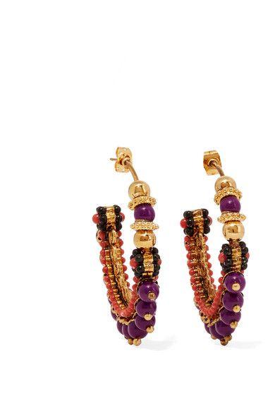 Etro | Gold-plated beaded hoop earrings | NET-A-PORTER.COM