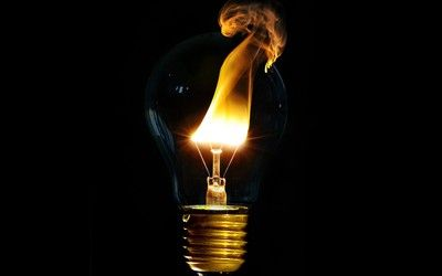 Flaming light bulb wallpaper