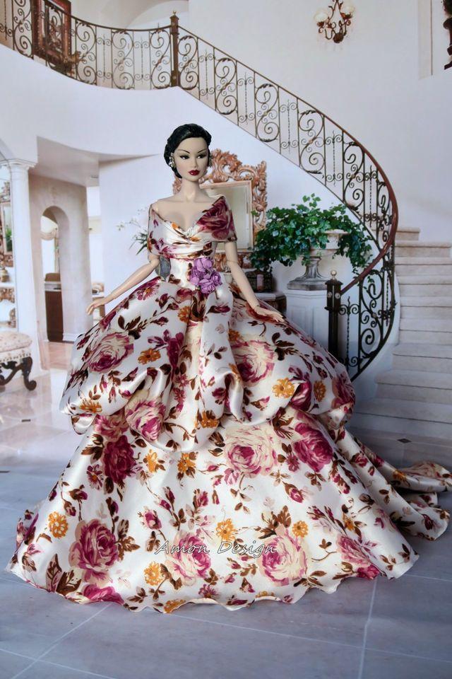 Amon Design Gown Outfit Dress Fashion Royalty Silkstone Barbie Model Doll FR