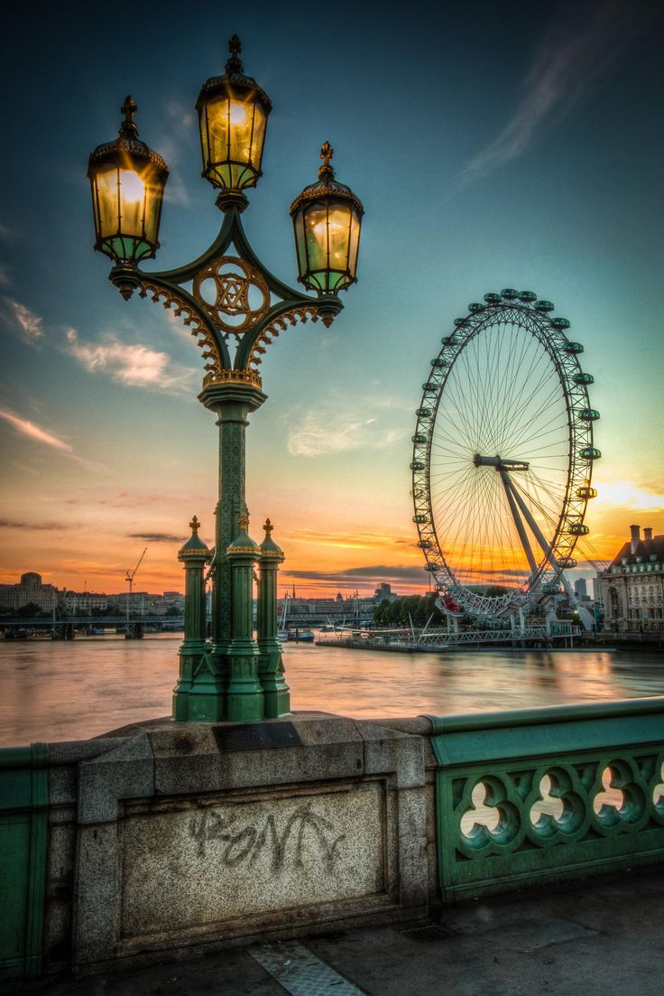 Sunset and the London Eye.  Search 'London' on Isango.com to find great tours and experiences at great prices