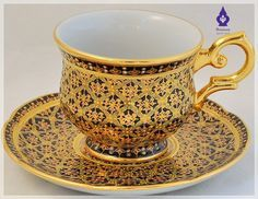 Benjarong Coffee cup with saucer in Winsor, Full patterned,Shiny glazed. [CFW] - 1,292 Baht : Thai Benjarong shopping for home docorative, gift and souvenir, Benjarong.Net