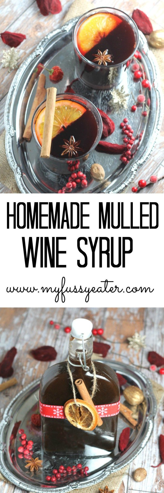 A clean eating and paleo friendly homemade mulled syrup and mulled wine recipe, made with coconut sugar