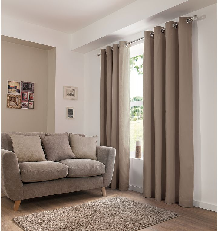 George Home Plain Eyelet Mink Curtains on shopstyle.co.uk