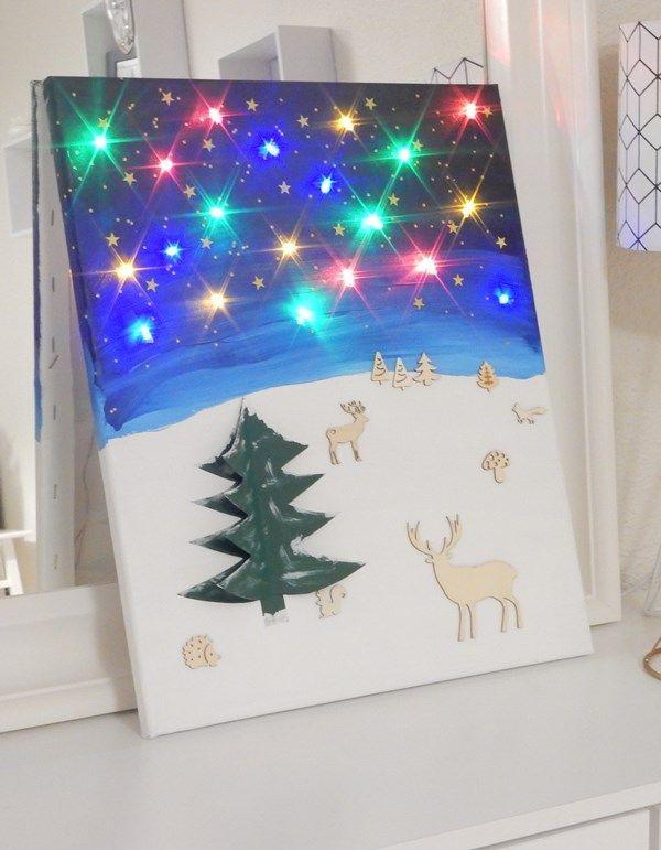 DIY : tableau de Noël lumineux – #de #DIY #lumine…
