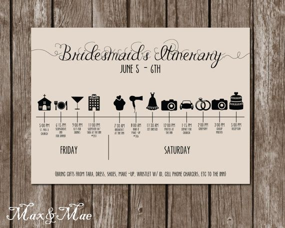 Wedding Itinerary Timeline Big Day Timeline by MaxandMaeInvites