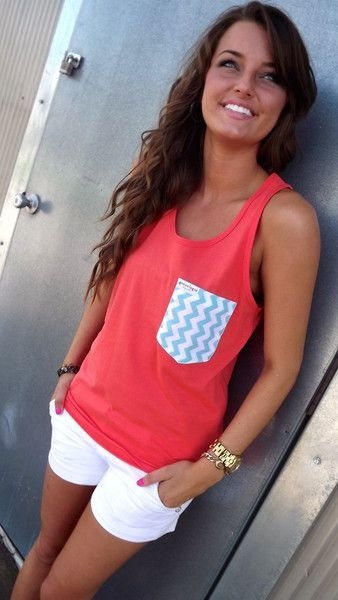 Neon Coral Tank w/ Chevron Pocket/ White Shorts... we have some cute tees like these at Victoria's secret in PINK(: So cute(: