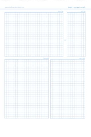 "Quickly map out your responsive site with the Responsive Design Sketchbook. Inspired by ""Responsive Web Design"" by Ethan Marcotte, this new sketchbook has a multi-grid front page for thumbnail sketche"