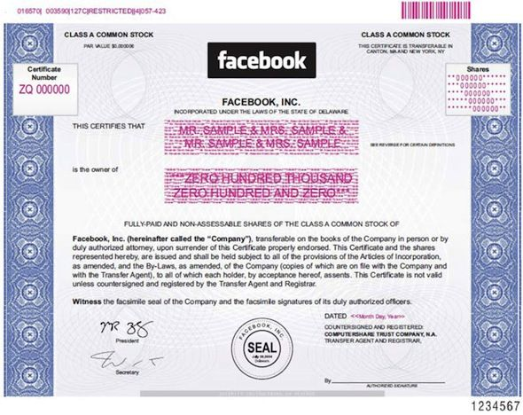 One share of Facebook Class A stock