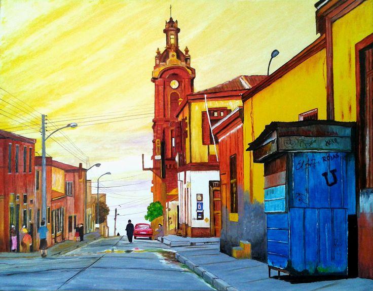 Elsa Rojas Valparaíso óleo sobre tela Lino de 70 x 55 cms (Réplica) ¡¡¡Felicitaciones Elsita!!! Es una gran alegría para mi presentar el resultado de tu primer cuadro en el Taller. El profe.