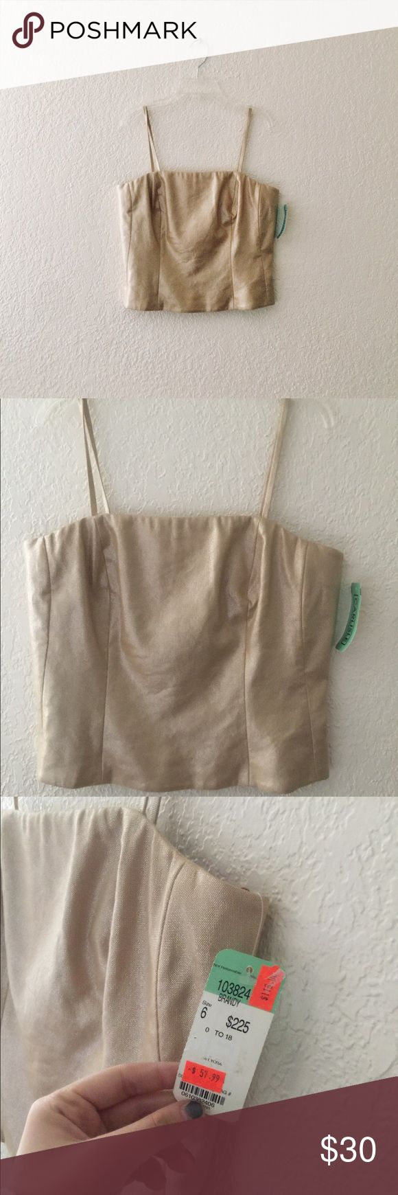 Gold Crop Top Perfect condition! Never worn - NWT! Zips up in back. Women's size 6. Tops Crop Tops