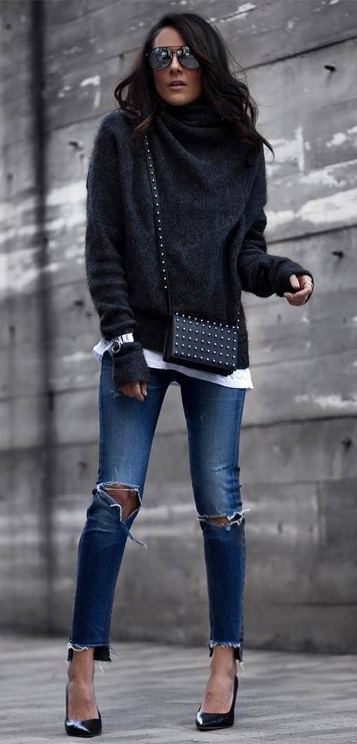 fall outfit: knit + ripped jeans