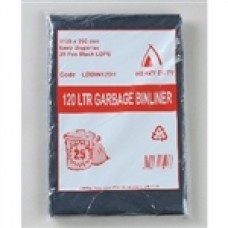 GARBAGE BAG 120LT BLACK 100/CTN 1100X950MM x 27UM $17.57 Count on a large durable garbage bag to hold everything your restaurant needs to haul. No more splitting or tearing bags here!