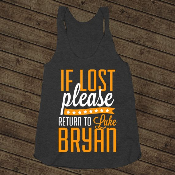 Return To Luke, Orange, If Lost Please Return To Luke Bryan, Country Music Shirt, Athletic Black American Apparel Racerback Tank Top