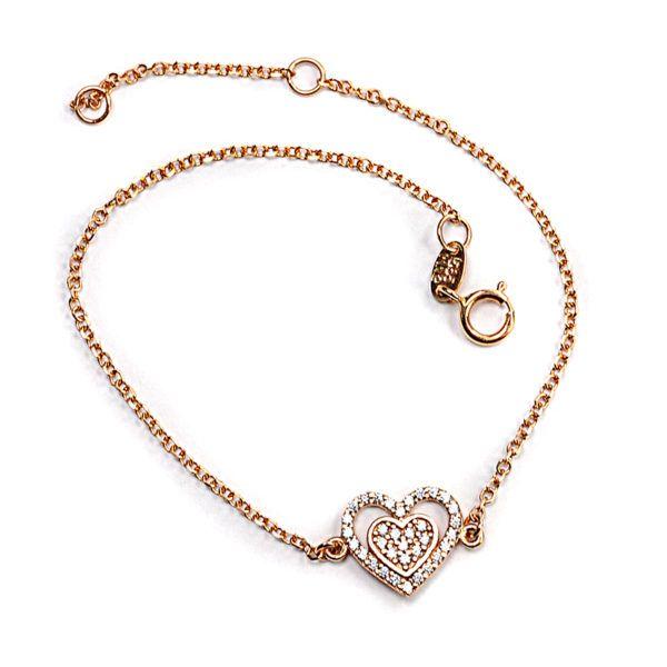 Βραχιόλι  καρδιά  χρυσό  Κ14  ζιργκόν 1476