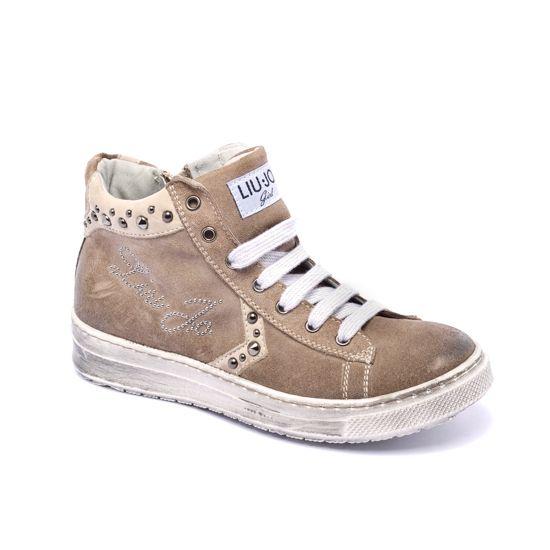 SNEAKERS ALTE LIU JO GIRL,  Sneakers alte della Liu Jo Girl per bambine e ragazze, color talpa, tomaia in pelle scamosciata, suola in gomma, effetto usato vintage, lacci, borchie. http://www.abbigliamento-bambini.eu/compra/sneakers-alte-liu-jo-girl-2321105