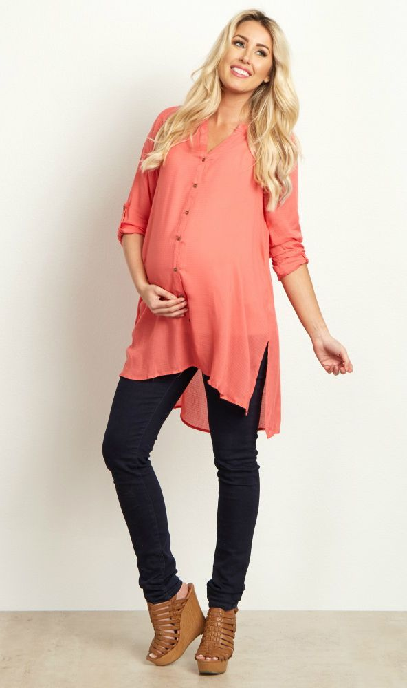 You'll fall in love with this button up maternity top as soon as you put it on this season. Perfect for styling with your favorite maternity jean or legging for the cooler months ahead. Dress it up by adding your favorite statement necklace and boots for a complete ensemble.