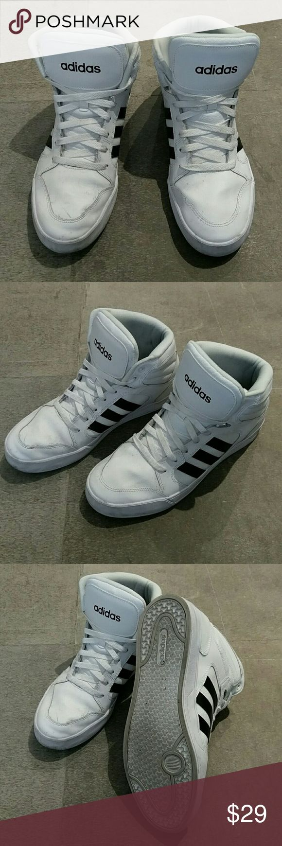 Adidas Raleigh Neo high top sneakers 11 white Adidas Raleigh Neo high top sneakers 11, white with black stripes, only worn a few times. Adidas Shoes Sneakers