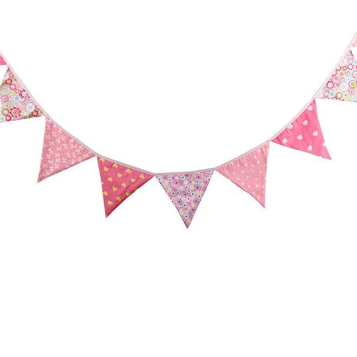 3.3M Handmade Colorful Cotton Fabric Bunting Pennant Flag Banner Garland Wedding Decoration