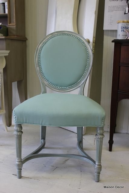 Painted fabric:   Maison Decor: Custom mixed paint: Anitibes Green, Louis Blue, Pure White, Greek Blue~then French Linen wash with silverleaf touches.All done with Chalk Paint® decorative paint by Annie Sloan The Tiffany French Chair
