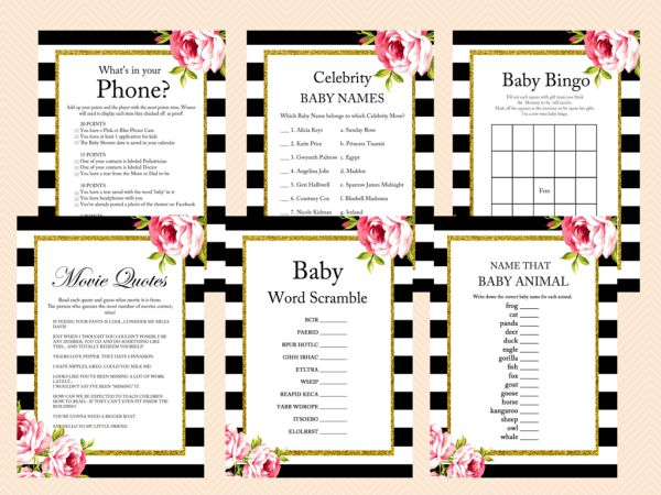 Floral Black and White Baby Shower, Gold Glitter, Shabby Chic Printable Baby Shower Games, Black White Baby Shower Games, Activities TLC04