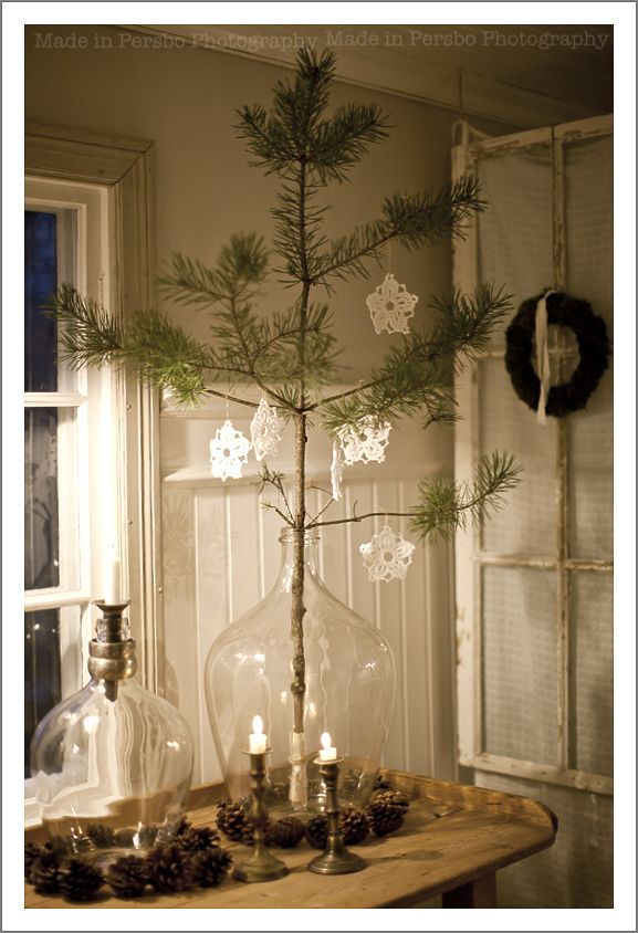 Instead of a Christmas tree, place a branch in a vase and hang some ornaments. Make several and place around the house or just one if there's not enough room for a large Christmas tree.