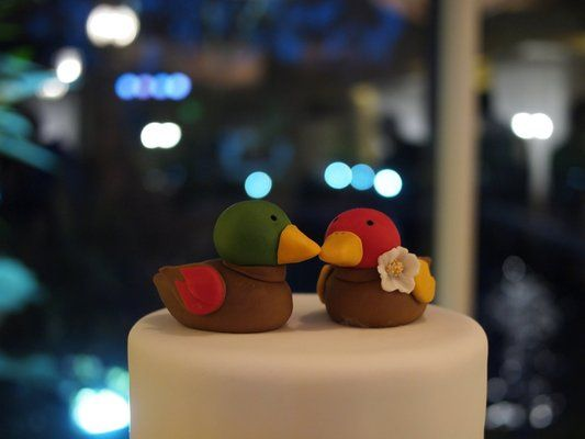 such a cute way to incorporate korean tradition to a wedding! (korean wedding ducks cake toppers)
