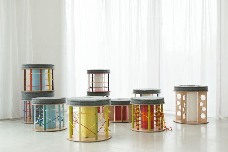 Multicoloured poufs like Montessori frames, From Nanowo, www.nanowo.eu