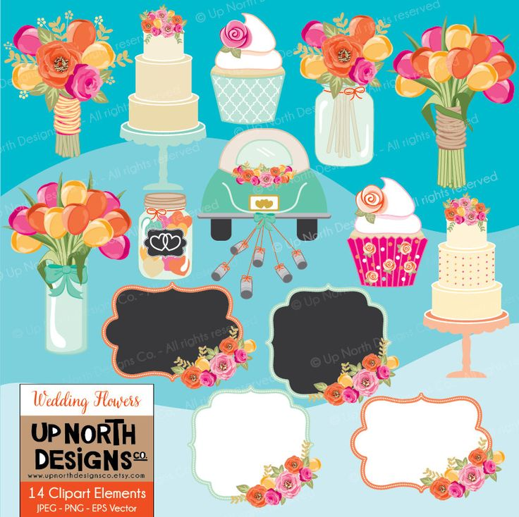 Wedding clipart Wedding tulip bouquet floral wedding cake flowers Cake clipart tulips clipart wedding cupcake Personal and Commercial Use by UpNorthDesignsCo on Etsy