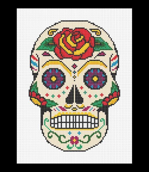 Sugar Skull Cross Stitch Pattern Pdf Day Of The Dead