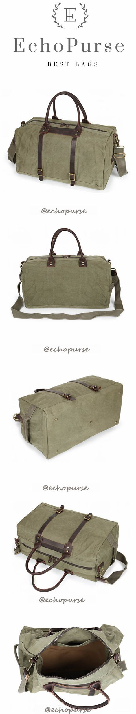 Canvas Duffel Bag, Vintage Travel Handbag, Army Green Waterproof Holdall YD189