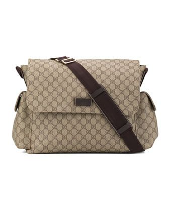 The Diaper bag I'm getting, thanks Hubby! Large GG Diaper Bag by Gucci at Bergdorf Goodman.
