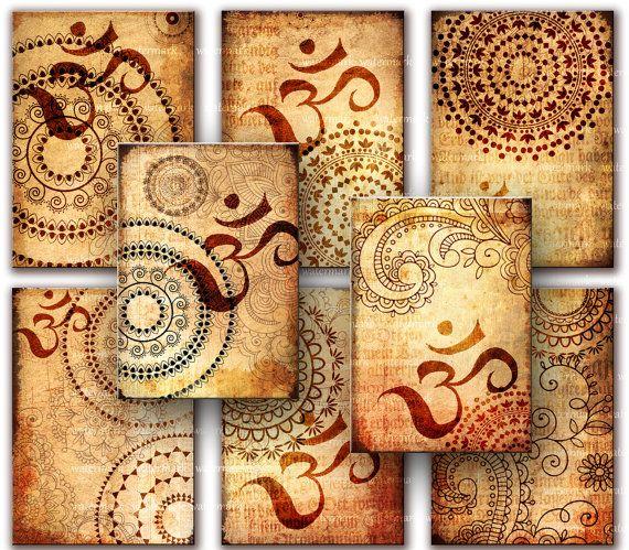 Oriental Henna drawing Om  Zen Tags   Digital by MemoriesPictures