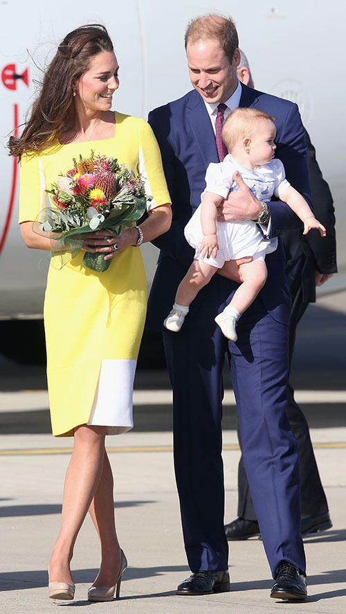 Kate Middleton, The Duchess Of Cambridge, Prince William And Prince George  Touch Down In Australia
