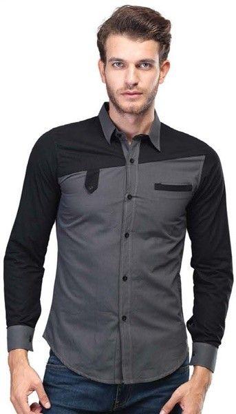 Cotton Shirt Mix Grey and Black