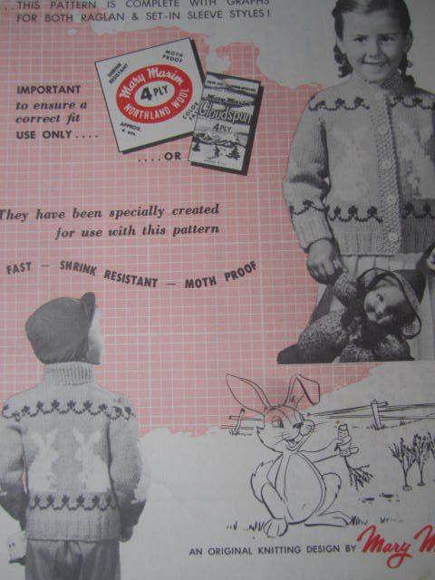 SeeSallySew.com - Bunny Cardigan Mary Maxim Knit Vintage Design No. 461 Knitting…