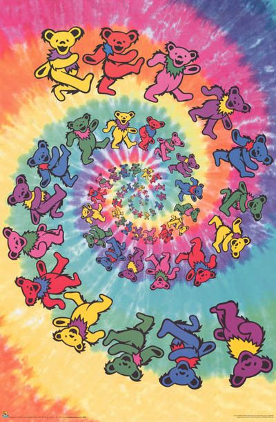 Lose yourself for hours (...especially after a puff on the ol' peace pipe) in this awesome Grateful Dead tie-dye swirl Dancing Bears poster! Fully licensed. Ships fast. 24x36 inches. Have a grateful t