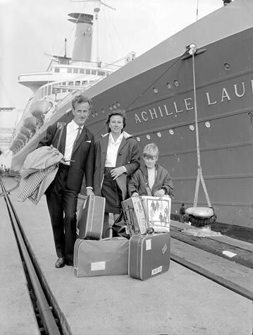 Family Arriving in Melbourne on Achille Lauro Ship, Station Pier, 1968. Ten Pound Poms?
