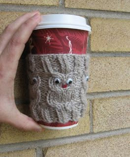 My Knitting Basket: Owl Coffee Cup Cozie Pattern   I want to make this!!!  @Robyn Aversa @Jenny Kass @Maria Tessier