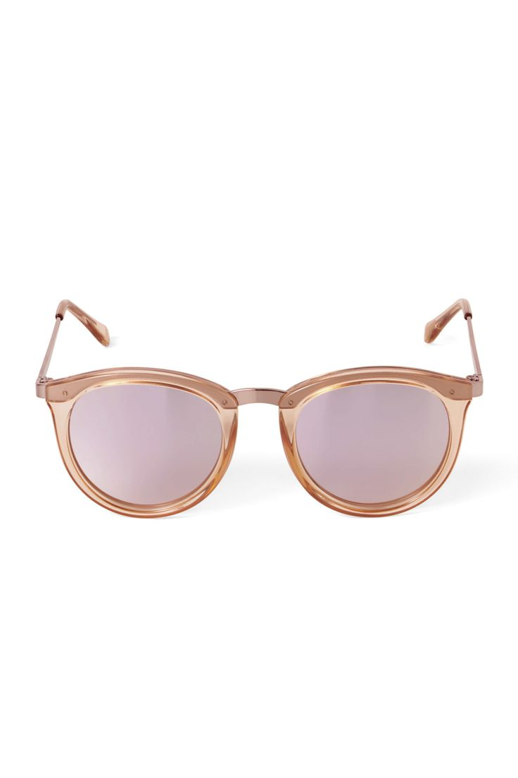 The No Smirking Sunglasses by Le Specs are a modern take on the classic round- shaped sunglasses. They have plastic frames and metal inlay and temple detai